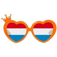 Bril holland oranje kroontje r/w/bl glas