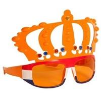 Bril holland oranje kroon met r/w/bl frame
