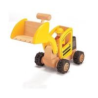 Massief houten bulldozer Pintoy 12x30x15 cm