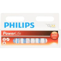Batterijen Philips PowerLife Alkaline AA: 12 stuks