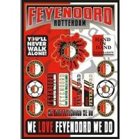 Stickervel feyenoord rood/wit: 30x21 cm