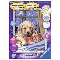 Hond en kat slapend Schilderen op nummer