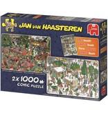 Jan van Haasteren Puzzel Jan van Haasteren Kerstcadeaus 2x1000 stukjes