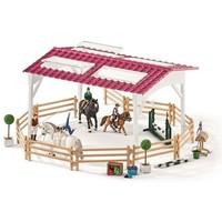 Ruiterschool met ruiter en paarden Schleich