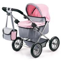 Poppenwagen Bayer Trendy: grijs/roze