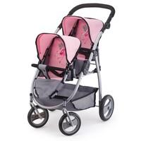 Poppenwagen Bayer tweelingen: grijs/roze