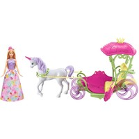 Eenhoorn met koets en pop Barbie