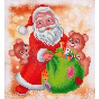 Santa en Teddies Diamond Dotz: 23x25 cm