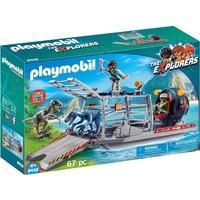 Luchtkussenboot met dinokooi Playmobil