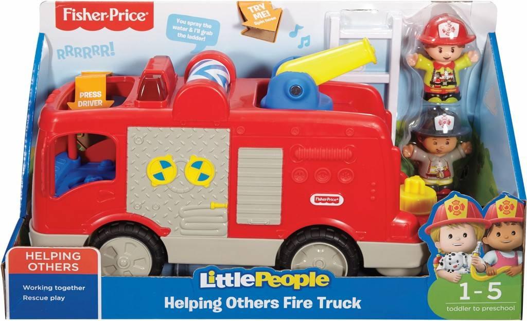 Fisher Price Little People brandweerauto 14,5 cm rood 3 delig