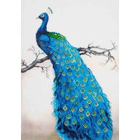 Blue Peacock Diamond Dotz: 60x84 cm