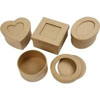Papier mache Creotime mini doosjes 4 stuks 8x4 cm