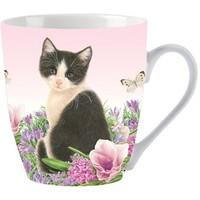 Mok Francien kat zwart/wit