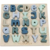 Puzzel hout alfabet Little Dutch: blauw