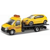 Vrachtauto Bburago Transporter + Alfa Romeo schaal 1:43
