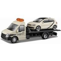 Vrachtauto Bburago Transporter + Volkswagen schaal 1:43