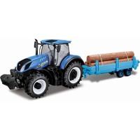 Tractor Bburago New Holland + trailer schaal 1:32