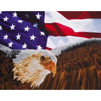 Eagle with American Flag Diamond Dotz: 71x56 cm