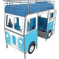 Hoogslaper bed blauw 220x105x169 cm