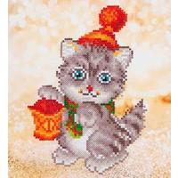 Needle Art Christmas Kitten Glow Diamond Dotz 23x25 cm