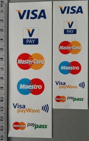 vpay, Maestro, MasterCard, Visa, JCB, China Union Pay acceptatiesticker van mijnPIN