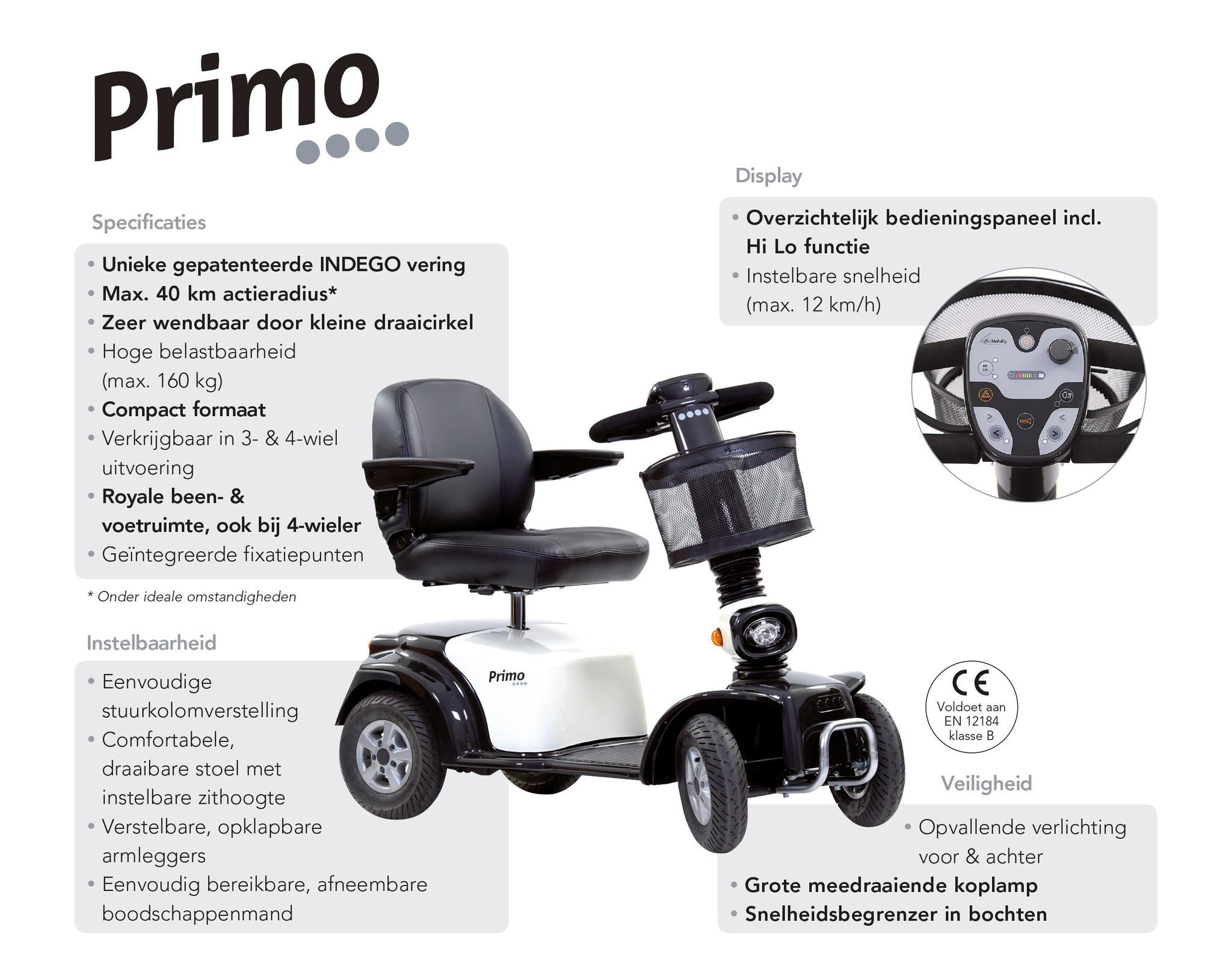 Scootmobiel Primo 4 eigenschappen