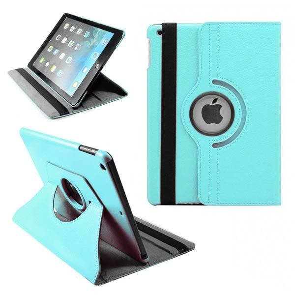 Apple iPad 5 Air Lederen 360° Draaibare Case met Stand Lichtblauw
