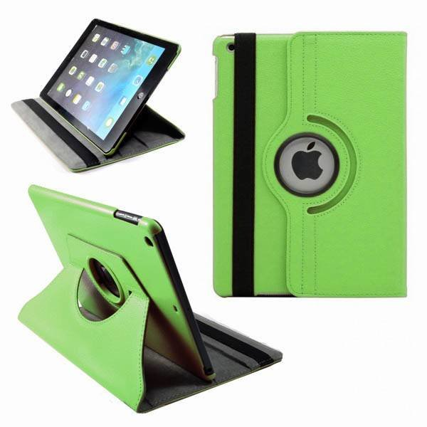 Apple iPad 5 Air Lederen 360° Draaibare Case met Stand Groen