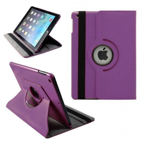 Apple iPad Air Lederen 360° Draaibare Case met Stand Paars