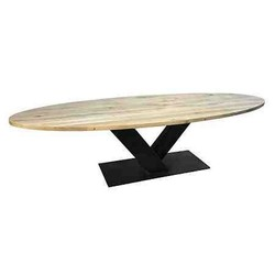 Ovale eiken tafel   V-onderstel   Veghel