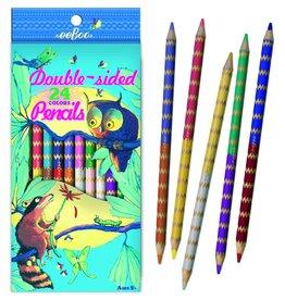 eeBoo Dubbelzijdige potloden Wasbeer en uil
