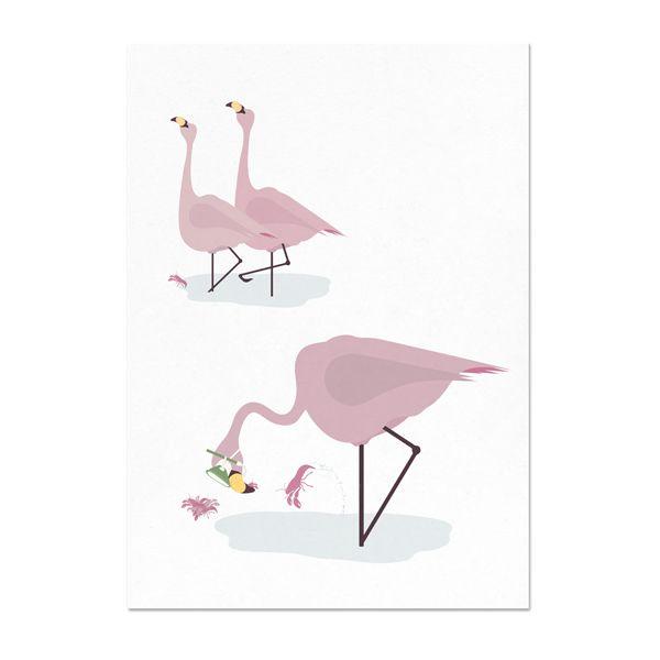 norsuStories Kaart Flamingo - wit