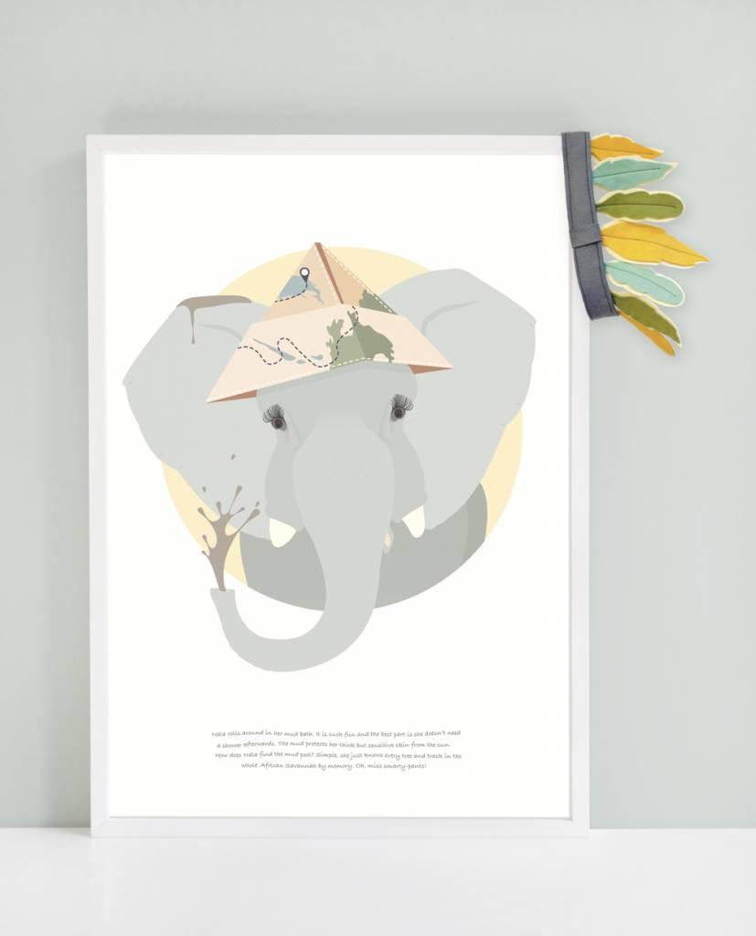 norsuStories Poster Olifant & verhaaltje 50 x 70 cm