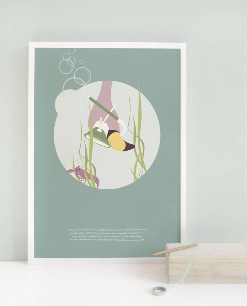 norsuStories Poster Flamingo & verhaaltje 50 x 70 cm