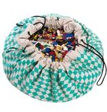 Play&Go Opbergzak - speelkleed ruit mintgroen