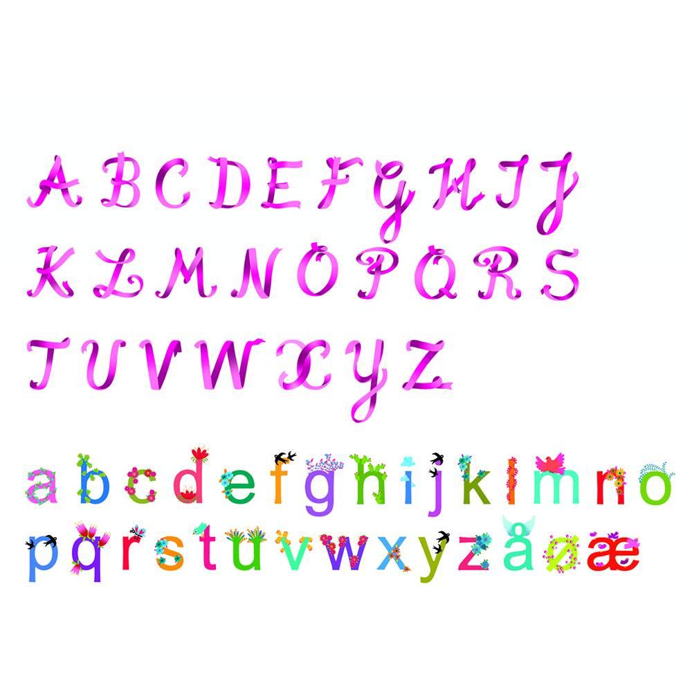 Djeco - Little BIG Room Muurstickers alfabet roze