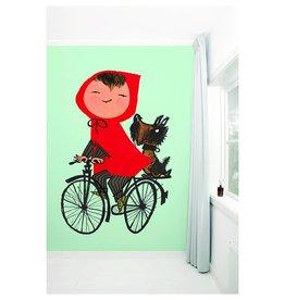 KEK Amsterdam Behang Meisje op fiets - groen
