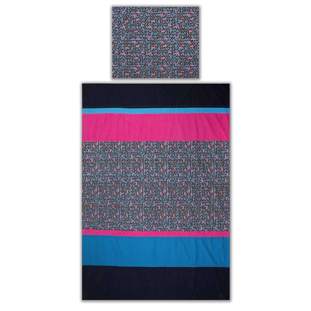 Colorique Chokhi Stamps dekbedovertrek fuchsia/blauw