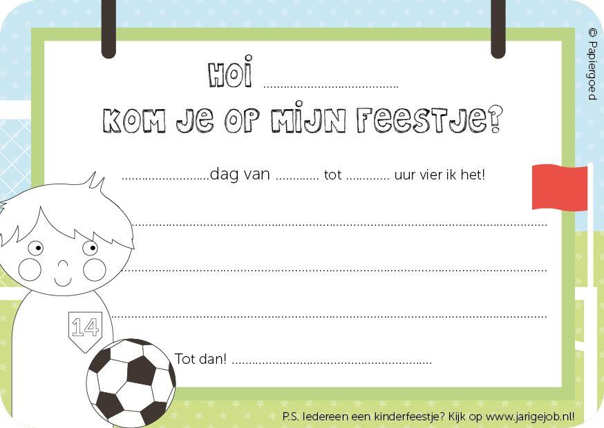 Papiergoed Uitnodiging kinderfeestje Voetballer