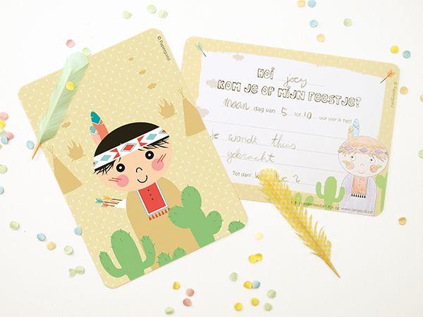 Papiergoed Uitnodiging kinderfeestje Indiaan