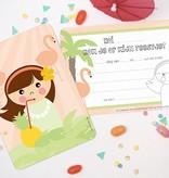 Papiergoed Uitnodiging kinderfeestje Hawaii meisje