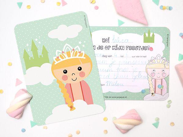 Papiergoed Uitnodiging kinderfeestje Prinses