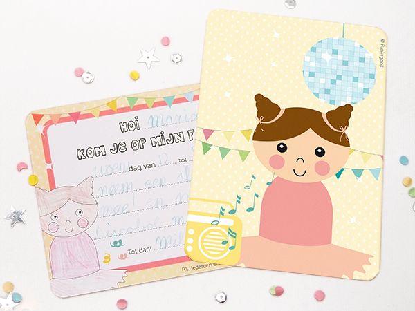 Papiergoed Uitnodiging kinderfeestje Danseres