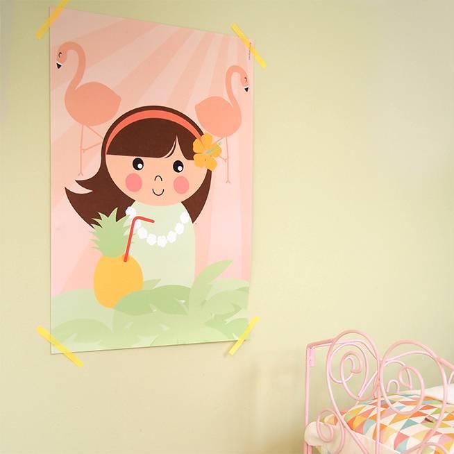 Papiergoed Poster Hawaii meisje 50 x 70