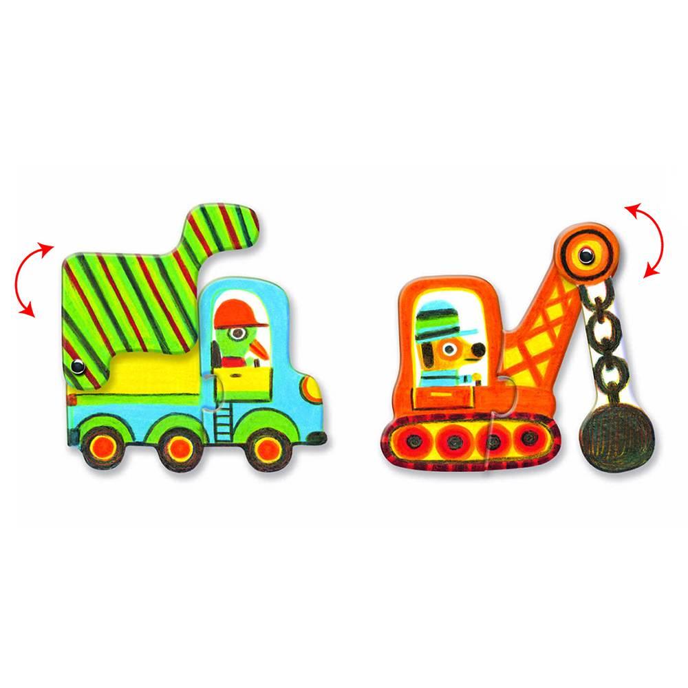 Djeco Puzzel duo; Bouw voertuigen
