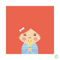 Papiergoed Kapselknipkaart Zomaar meisje - rood