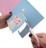Papiergoed Kapselknipkaart Feestje meisje - blauw