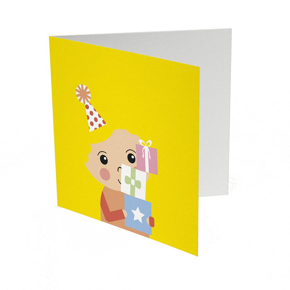 Papiergoed Kapselknipkaart Feestje jongen - geel