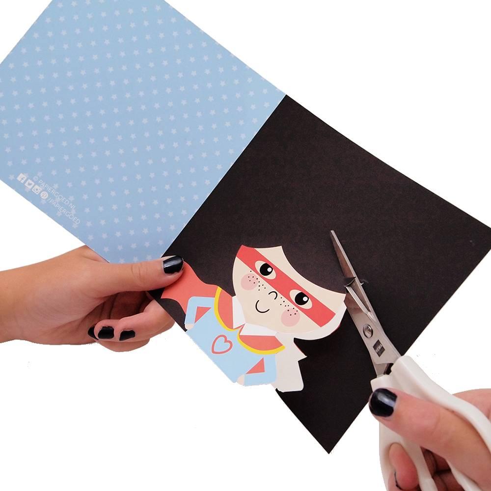 Papiergoed Kapselknipkaart Zomaar jongen - zwart