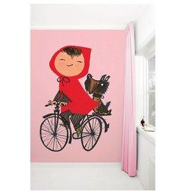 KEK Amsterdam Behang Meisje op fiets - roze